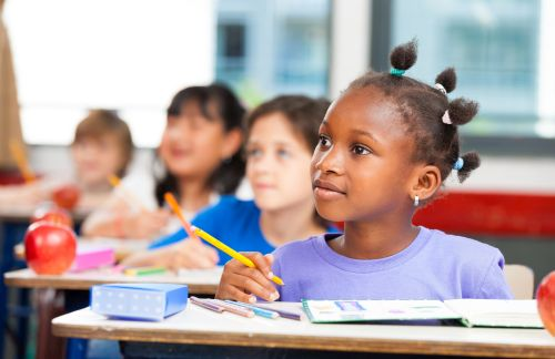 Multi ethnic classroom. School and integration concept
